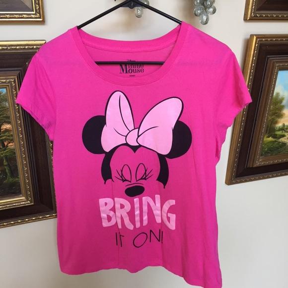 6f6edfb03df Disney Tops | Minnie Mouse Bring It On Pink Cap Sleeve Tee | Poshmark